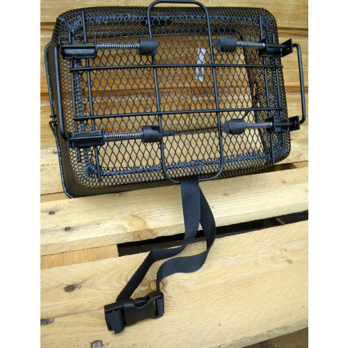 b6fcb2bad365 ... Panier arrière noir pour vélo fixation à ressorts sur porte bagage ...