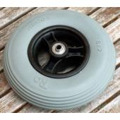 Roue pleine 200X50 - bandage gris - jante noire - pour axe 8 mm - moyeu largeur 60 mm - Charge utile 25 kg