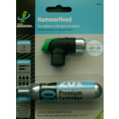 GONFLEUR CO2 HammerHead Genuine Innovations - Presta - Schräder - avec bouton de gonflage + cartouche 20g