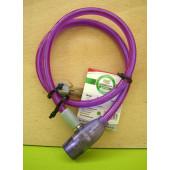 Antivol câble à clé, Point, 80cm, violet